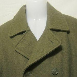 CALVIN KLEIN Pea Coat Large Gray-Green Wool Blend